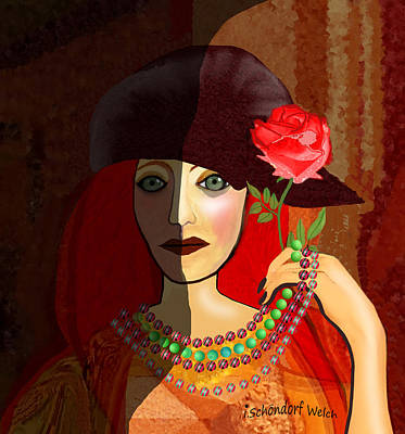 Digital Art - 1641 - Lady With Green Pearls And Rose 2017 by Irmgard Schoendorf Welch