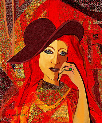 Digital Art - 1642 - Foxy Lady 2017 by Irmgard Schoendorf Welch