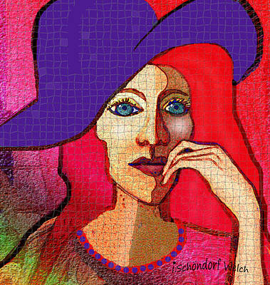 Digital Art - 1643 - Lady Red Hair Blue Hat 2017 by Irmgard Schoendorf Welch