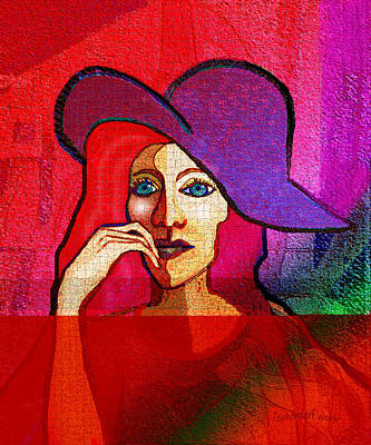 Digital Art - 1646 Pensive Woman by Irmgard Schoendorf Welch