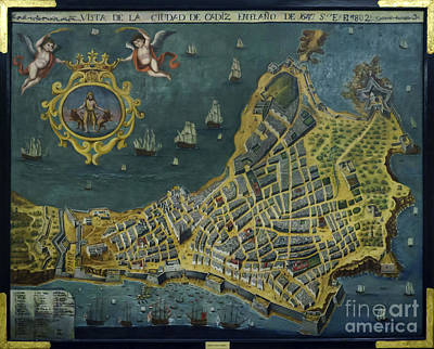 Photograph - 1647 View Of The City Of Cadiz Anonymous Painting Photographed by Pablo Avanzini
