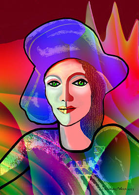 Digital Art - 1655 - Nice Lady With Blue Hat 2017 by Irmgard Schoendorf Welch