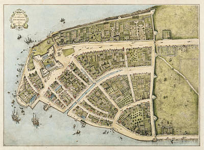Mixed Media - 1660 New Amsterdam Map by Dan Sproul