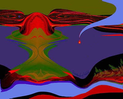 Digital Art - 1676 - Red Shadow World by Irmgard Schoendorf Welch