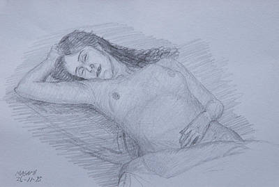 Drawing - Nude Study by Masami Iida