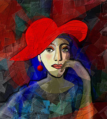 Digital Art - 1689 - Lady With Red Earhanger 2017 by Irmgard Schoendorf Welch