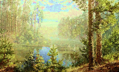 River Painting - Nature Art Landscape by Edna Wallen