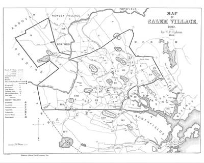 1692 Historical Map Of Salem Massachusetts Pulished In 1866 1800s Map Black And White Art Print