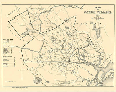 1692 Historical Map Of Salem Massachusetts Pulished In 1866 1800s Map Art Print