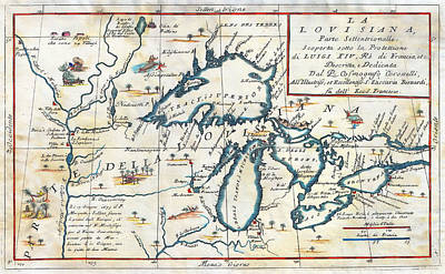 Minneapolis-st. Paul Photograph - 1695 Great Lakes Map by Stephen Stookey