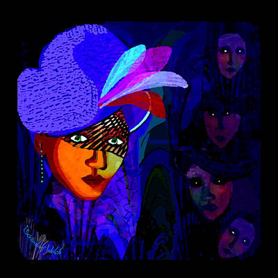 1696- Lady With A Blue Hat And Veil 2017 Art Print