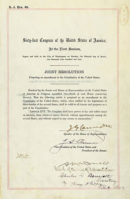16th Amendment To The U.s. Constitution Print by Everett