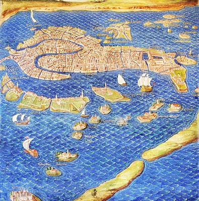 Vatican Photograph - 16th Century Map Of Venice by Sheila Terry