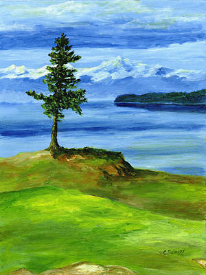 Wa Painting - 16th Hole by Carlene Salazar