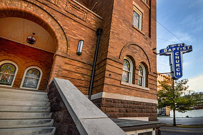 Photograph - 16th Street Baptist Church Sign And Steps In Birmingham Alabama by Michael Thomas