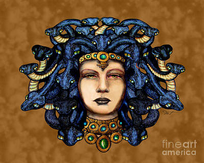 Gorgon Mixed Media - 16x20 Medusa 2 Blu Gold by Dia T