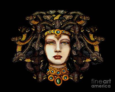 Gorgon Drawing - 16x20 Medusa2 Brn Blk by Dia T