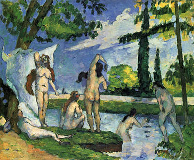 Outdoor Nude Painting - Bathers by Paul Cezanne