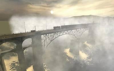 Sunset Digital Art - Bridge by Super Lovely