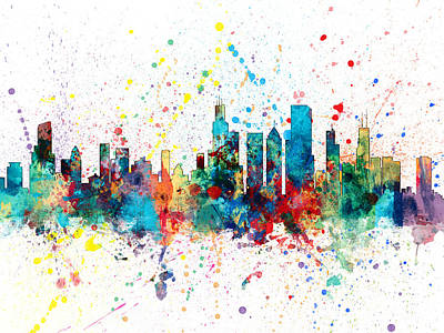 City Wall Art - Digital Art - Chicago Illinois Skyline by Michael Tompsett