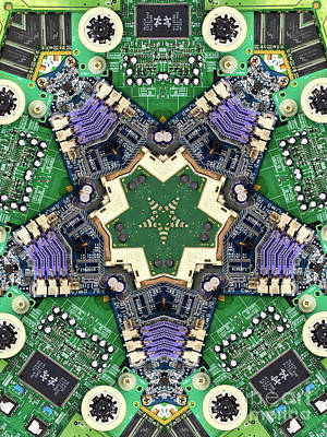 Circuit Board Photograph - Computer Circuit Board Kaleidoscopic Design by Amy Cicconi