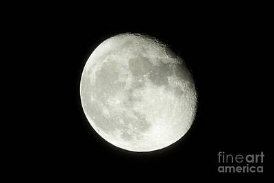 Waning Gibbous Moon Photograph - 17 Day Old Waning Gibbous 95 Per Cent Visible Moon by Joe Fox