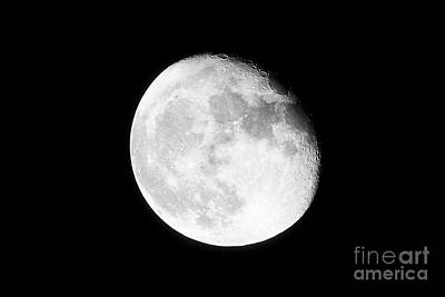 Waning Gibbous Moon Photograph - 17 Day Old Waning Gibbous Grainy Visible Moon by Joe Fox