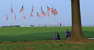 Photograph - 17 Flags 7 People 1 Tree Trunk by Cora Wandel