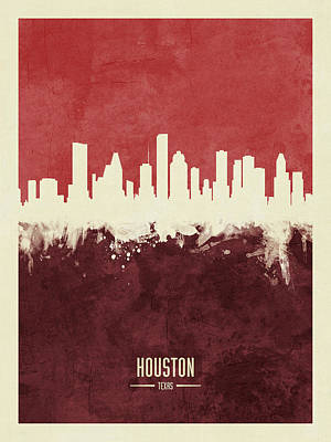 Digital Art - Houston Texas Skyline by Michael Tompsett
