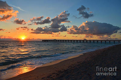 Photograph - 17- Juno Beach Pier Sunrise by Joseph Keane