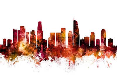 Los Angeles Skyline Digital Art - Los Angeles California Skyline by Michael Tompsett