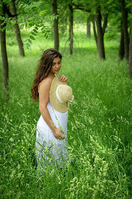 Photograph - Lady In A Field Of Green Grass by Eleanor Caputo