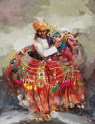 South East Asian Art Painting - 17 Pakistan Folk Punjab B by Mahnoor Shah