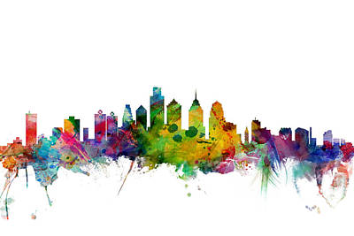 Poster Digital Art - Philadelphia Pennsylvania Skyline by Michael Tompsett