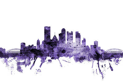 Digital Art - Pittsburgh Pennsylvania Skyline by Michael Tompsett