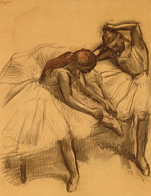 Degas Drawing - Two Dancers by Edgar Degas