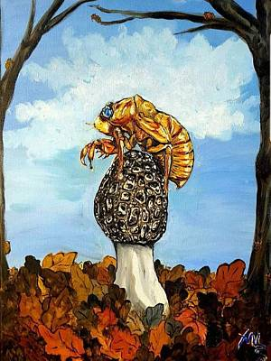 Painting - 17 Year Cicada With Morel by Alexandria Weaselwise Busen