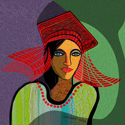 Digital Art - 1700 - Young Girl  With Fancy  Red Hat 2017 by Irmgard Schoendorf Welch