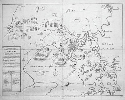 Boston Ma Digital Art - 1700s City Planning Map Boston Ma Black And White by Toby McGuire