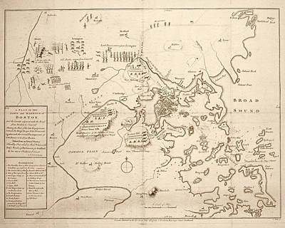 1700s City Planning Map Boston Ma Sepia Art Print