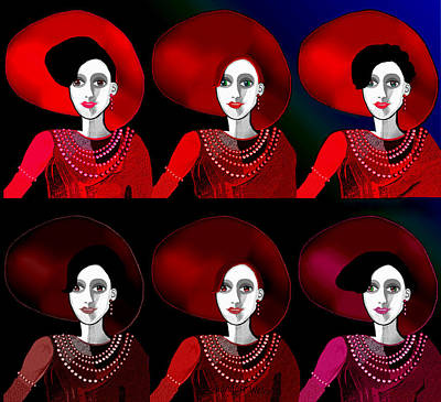 Digital Art - 1702 - Lady In Red Glow 2017 by Irmgard Schoendorf Welch