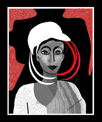 Digital Art - 1704 - Interesting Lady With Odd White Hat 2017 by Irmgard Schoendorf Welch