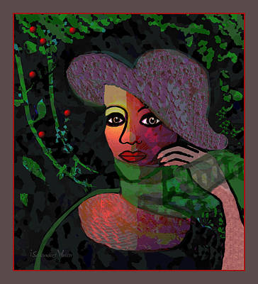 Digital Art - 1706 - Lady With Green Scarf 2017 by Irmgard Schoendorf Welch