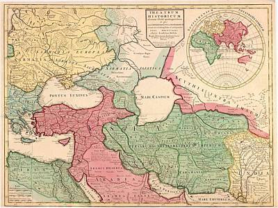1712 French Map Of Southwest Asia Art Print by Everett
