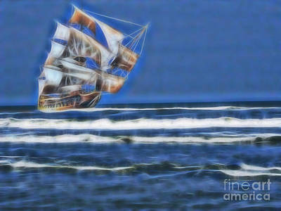 Vero Beach Digital Art - 1715 Ghost Treasure Ship by D Hackett