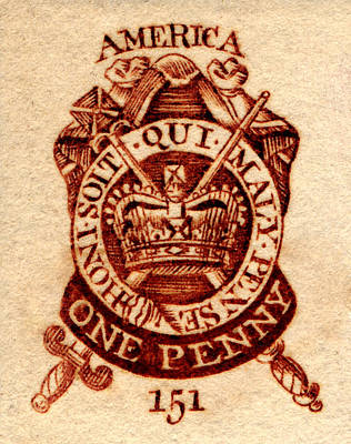 Painting - 1765 American Tax Stamp by Historic Image