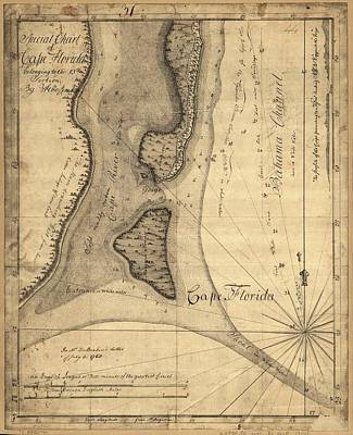 Miami Drawing - 1765 Florida Coast Map by Dan Sproul