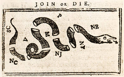 Painting - 1765 Join Or Die  by Historic Image