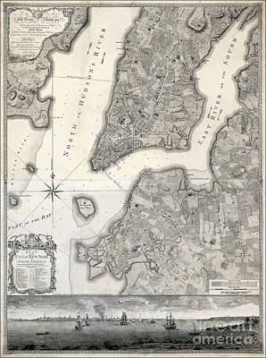 Statue Of Liberty Photograph - 1766 Map Of New York City by Jon Neidert
