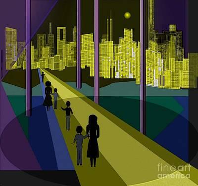 Digital Art - 177 - Nightwalking To The Golden City   by Irmgard Schoendorf Welch
